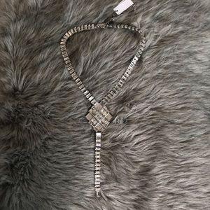 Baguette Glass Stone Lariat Necklace